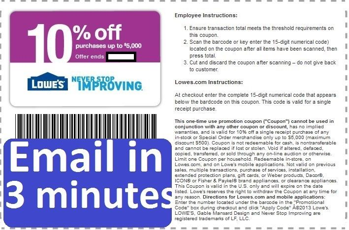 Three (3x) Lowes 10% OFF-Coupons-Printable EXP 5/15/2017 FAST Delivery!-!
