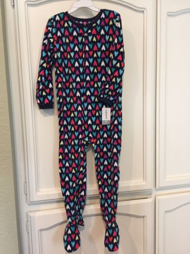 NWT CARTER'S Girls Size 5T Navy Blue Pink Fleece Footed Pajama Sleeper Hearts