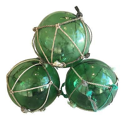 Lovable Nautical Green Glass Fishing Floats - Set of 3