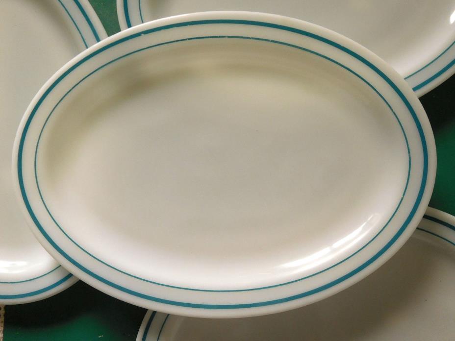 Vintage Pyrex Tableware Blue Band Oval Platter Plate Stripe 799