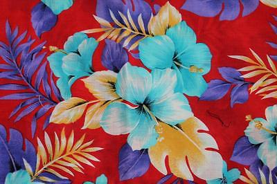 Vintage Red Floral Hawaiian Fabric 63