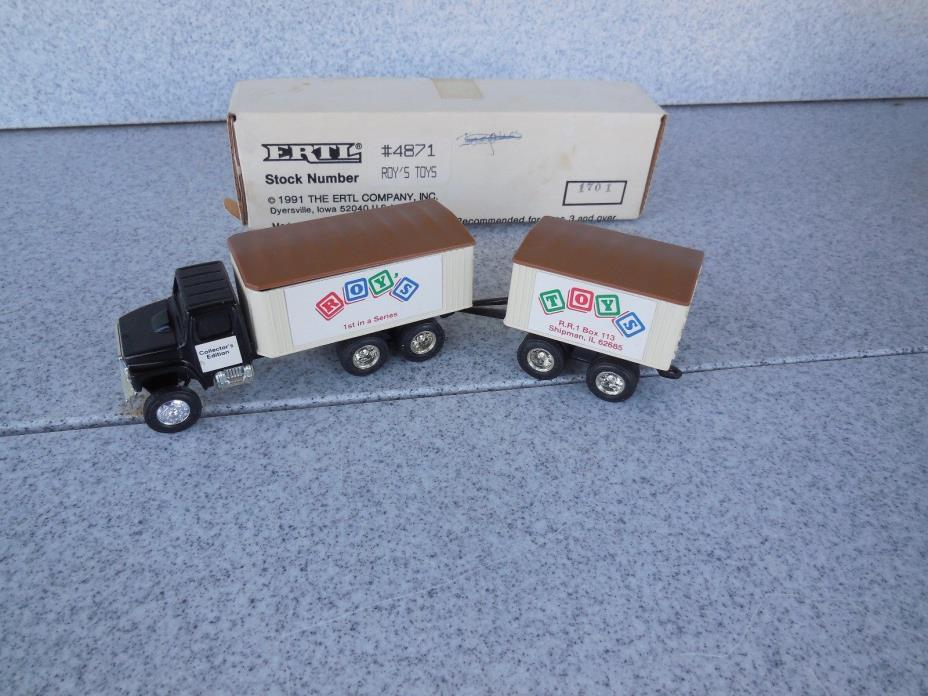 NEW OLD STOCK / ERTL 1/64 SCALE ROY'S TOYS GRAIN TRUCK WITH PUP TRAILER 4871