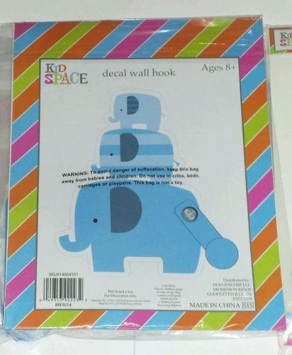 Baby Boy Nursery Wall Hook Decal Elephant Decor Blue Room Kid Space New