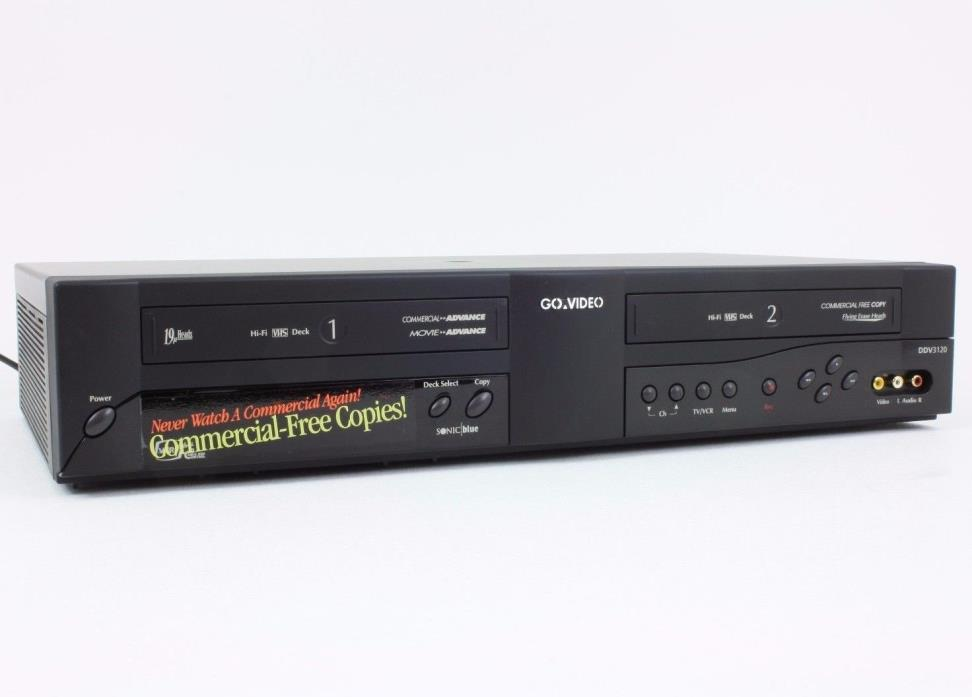 TESTED! WORKS! EXCELLENT CONDITION! Go Video DDV3120 VCR+VCR DUAL DECK IN BOX!