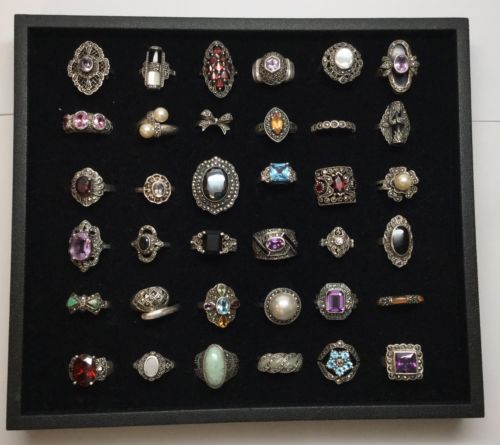 Lot Of 36 Sterling Silver Rings With Marcasite And Stones