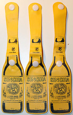 Singha Lager Beer Bottle Shaped 3x Thin Plastic Luggage Tags from Thailand
