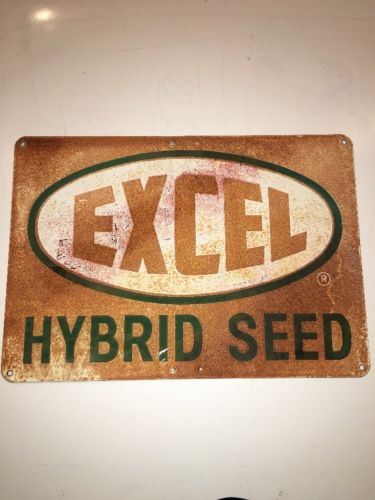 EXCEL HYBRID SEED METAL SIGN VINTAGE FARM BARN FIELD SEED antique