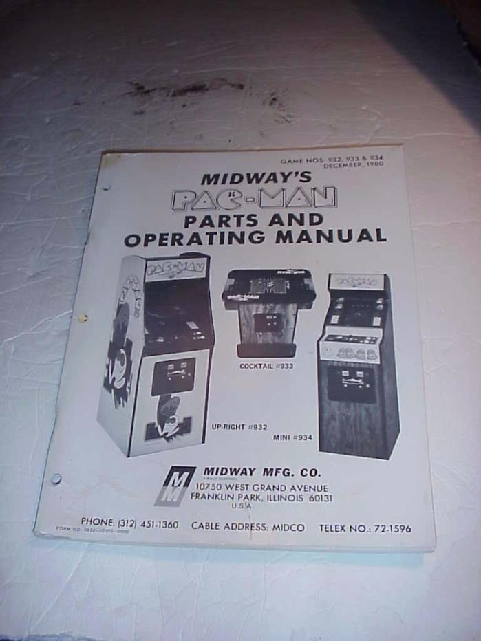 MIDWAY'S PAC MAN ARCADE MACHINE OPERATIONAL  MANUAL
