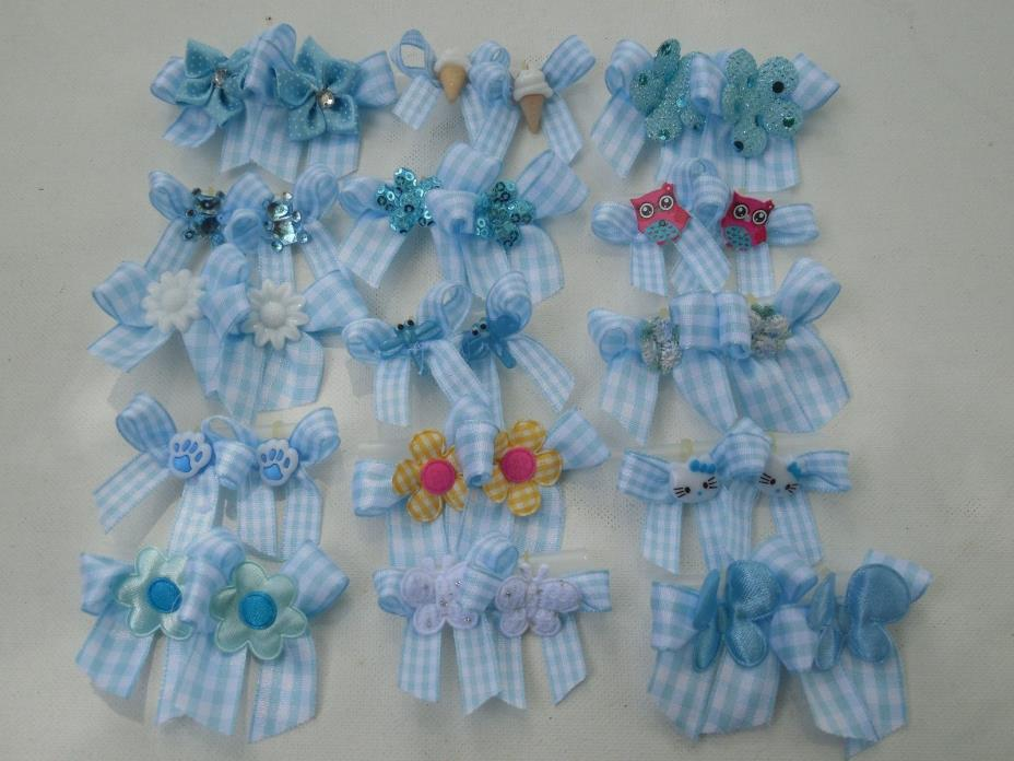 30 Fancy Blue white Dog Pet child baby Grooming Bows 2 sizes Lot #186