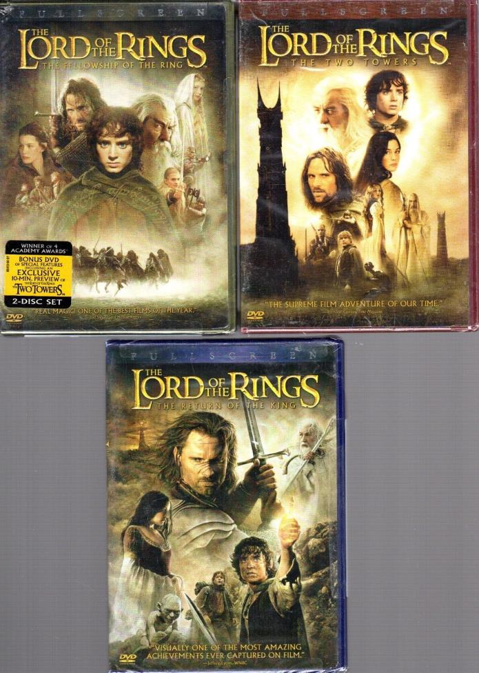 NEW Lot of 3 LORD of the RINGS Trilogy Fellowship Two Towers Return of the King