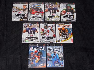 Lot of 9 Playstation 2 PS2 NBA Basketball NCAA / NFL Football & NASCAR Games M97