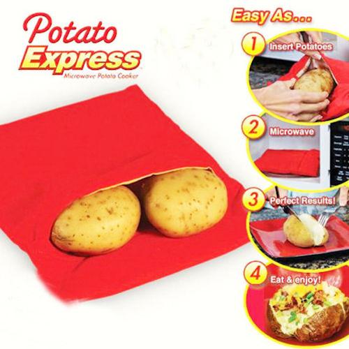 Potato Express Microwave Potato Cooker, Perfect Potatoes in 4 minutes NEW