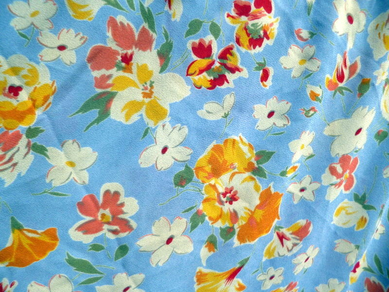Vintage 1940s 50s MID CENTURY Rayon Floral Fabric~Rare 3.5+ Yds