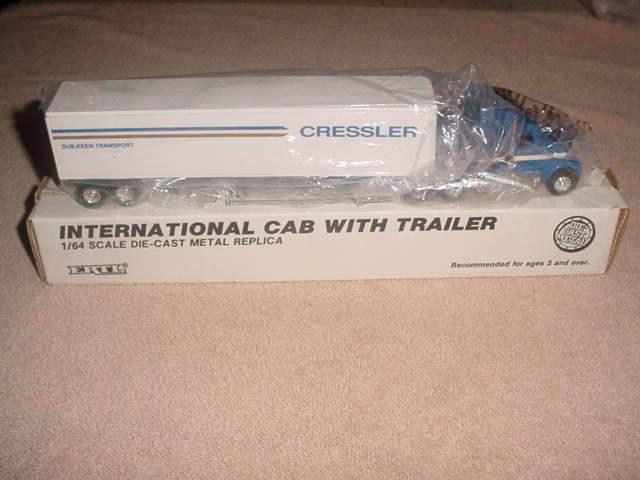 Ertl Diecast l Trucks , CRESSLER INTERNATIONAL CAB & TRAILER  # 2872   1/64