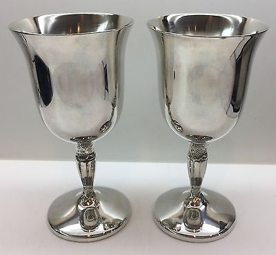 Vintage UNUSED International Silver Co Silver Plated Goblets Wine Glasses 2