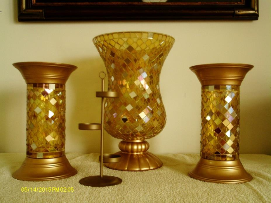 PARTYLITE GOLD MOSAIC HURRICANE Candle Holder with tree and 2 COLUMNS