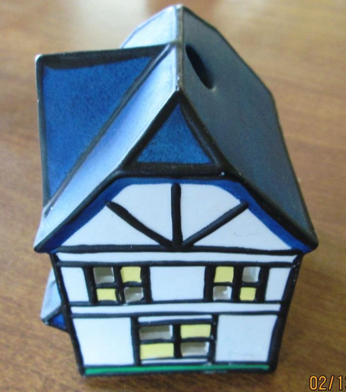 Ceramic Christmas Village House Candle Holder Decor