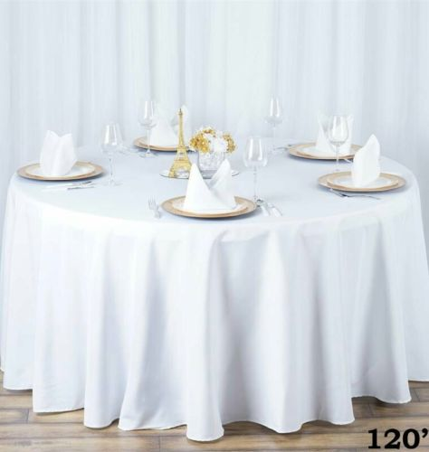 Lot of 10 white 120 inch round Tablecloths