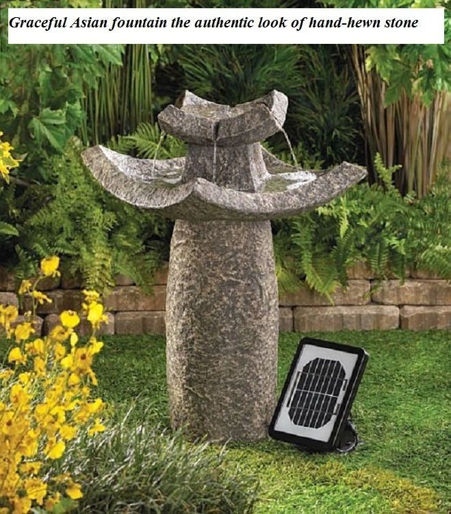 Solar Water Fountain Graceful Asian Look Hand Hewn Stone Submersible Pump & Cord
