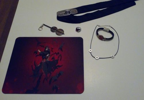 Naruto Itachi Uchiha Necklace Itachi Headband Ring Madara Key Chain Mouse Pad