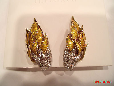 TIFFANY 'S  JEAN SCHLUMBERGER 18K Gold Diamond Yellow Enamel