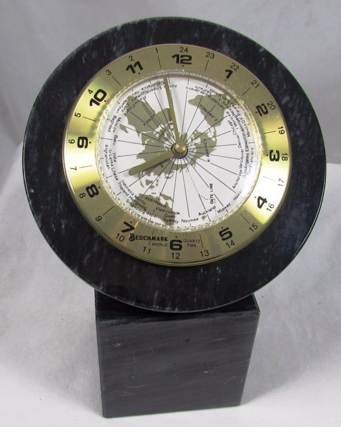 Benchmark World Time Black Marble Desk Clock Quartz Movement