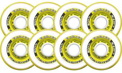Labeda Inline Roller Hockey Skate Wheels Millennium Gripper Yellow 76mm SET OF 8