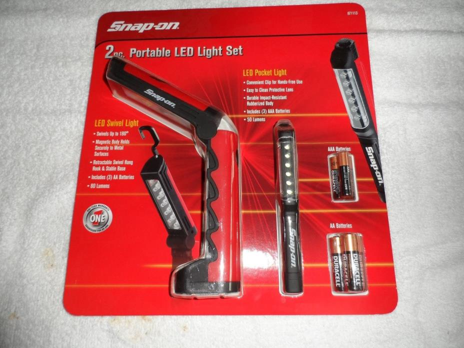 Snap-on 2 pc. Portable LED Light Set NEW Pocket and Swivel
