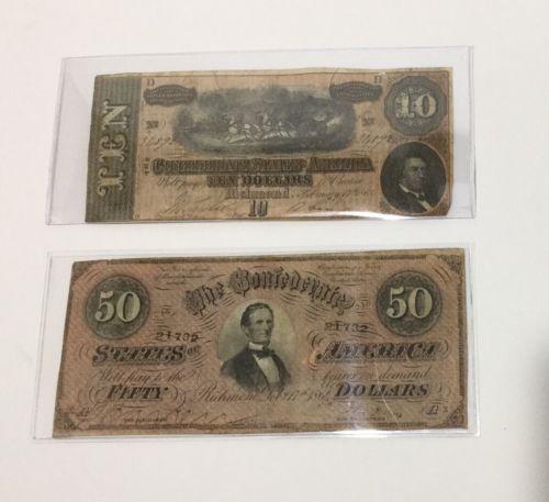 2 - 1864 Confederate Notes $10 Ten & $50 Fifty Dollar Bill Civil War Currency