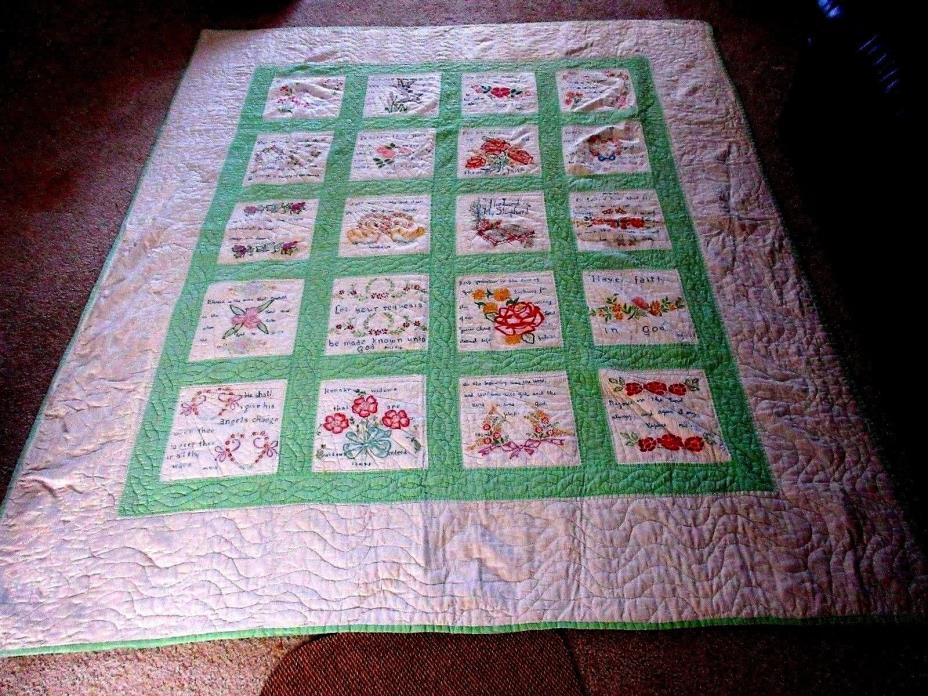 VINTAGE HAND STITCHED QUILT BIBLE VERSES THEME SWANS FLOWERS EMBROIDERED