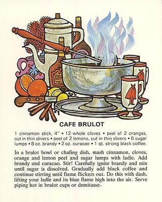 VINTAGE CAFE BRULOT COFFEE CURACAO ORANGE DRINK RECIPE 1 TEA COFFEE KITCHEN CARD