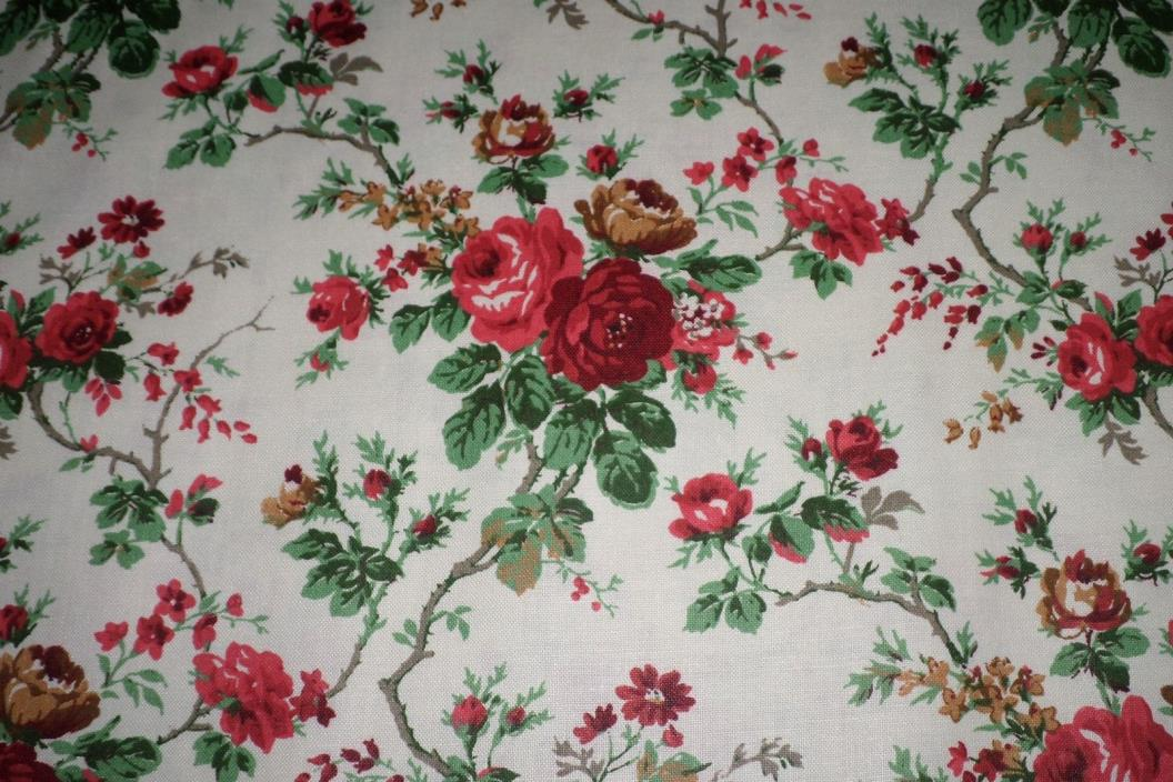 VTG 8.5 Yards Polished Cotton FABRIC Material Print Red Roses Flowers BOLT FRESH