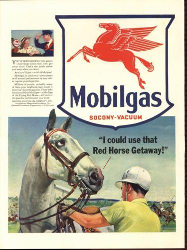 1941 Horse Jockey Howard Scott Art Mobil Gas PRINTAD