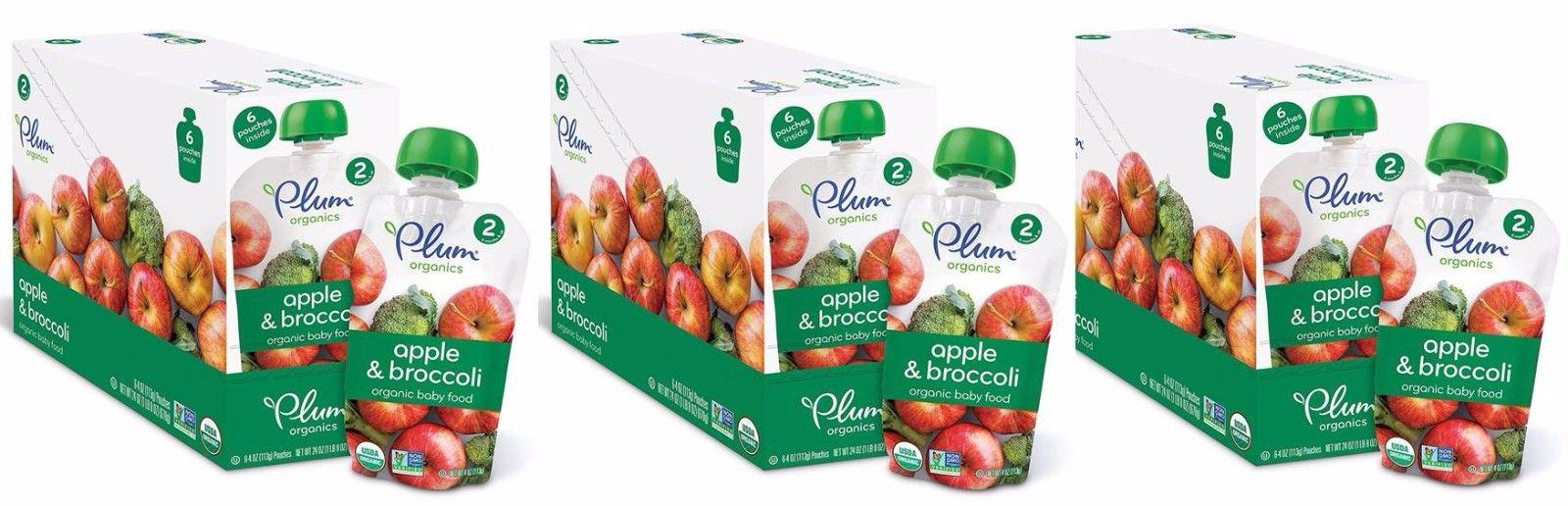18 PACK Plum Organics Stage 2 Purees - Apple Broccoli 4oz each
