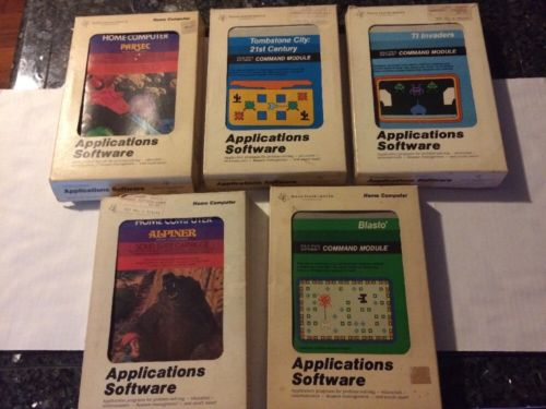 Texas Instruments TI-99/4A Application Software Games Lot Of 5