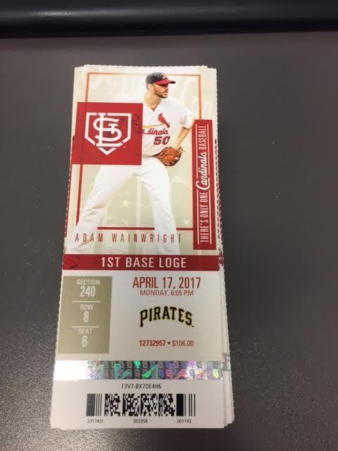 St. Louis Cardinals Pittsburgh Pirates MINT Season Ticket 4/17/17 2017 MLB Stub