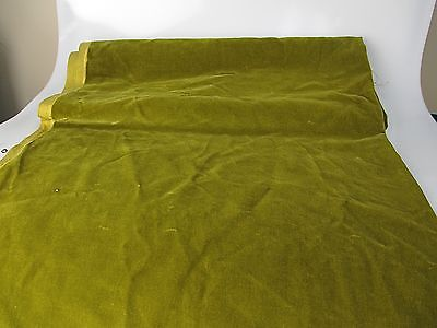 Vintage Velvet Fabric Remnant Germany Cotton 34 in W Olive green