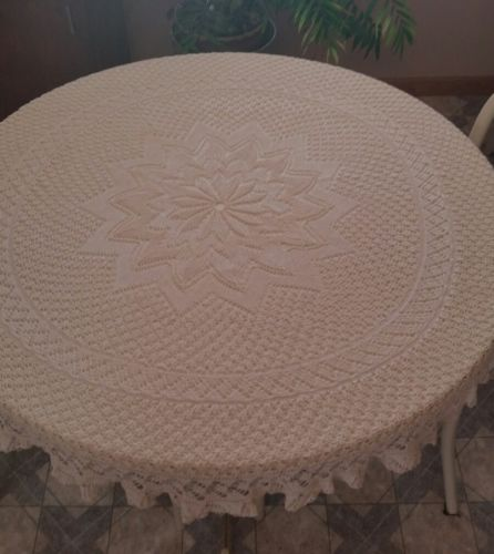 Linen Textile Vintage Hand Crochet Euca Ivory Cream Round Tablecloth  44