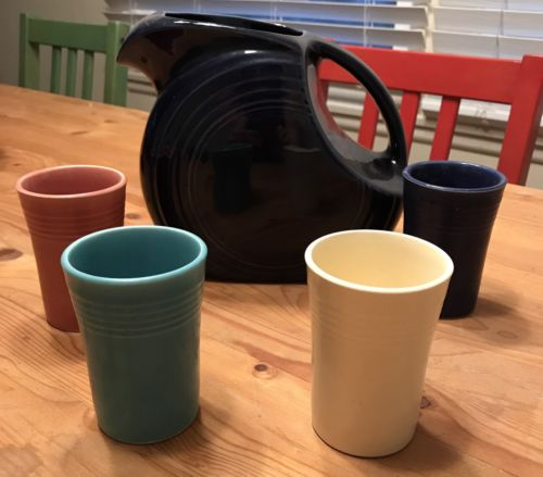 Fiestaware Pitcher and 4 Juice tumblers