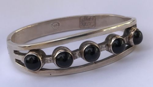 Vintage Heavy Solid Mexican Sterling Silver Bangle Black Onyx Cabochon Bracelet