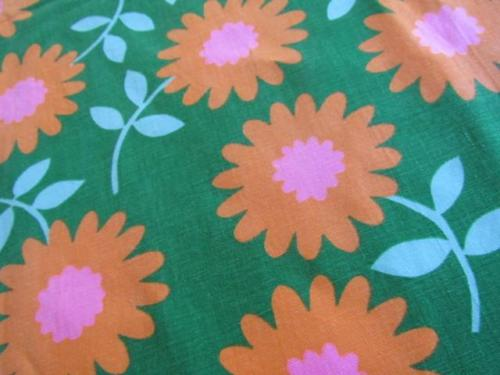 BTY Retro MOD Vtg Flower Power Cotton Canvas Upholstery Fabric PINK GREEN ORANGE