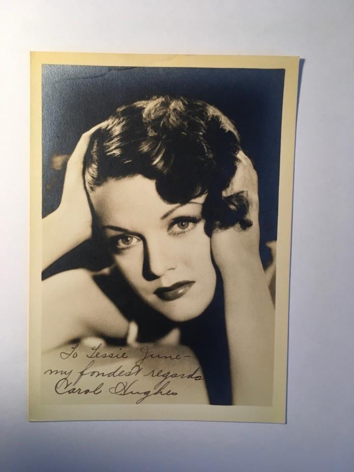 Carol Hughes Rare Original Autographed Photo, 1930s, With Envelope Flash Gordon