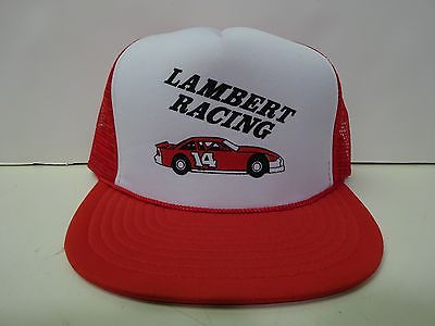 vtg LAMBERT RACING Trucker Hat stock car dirt track snapback mesh cap NASCAR