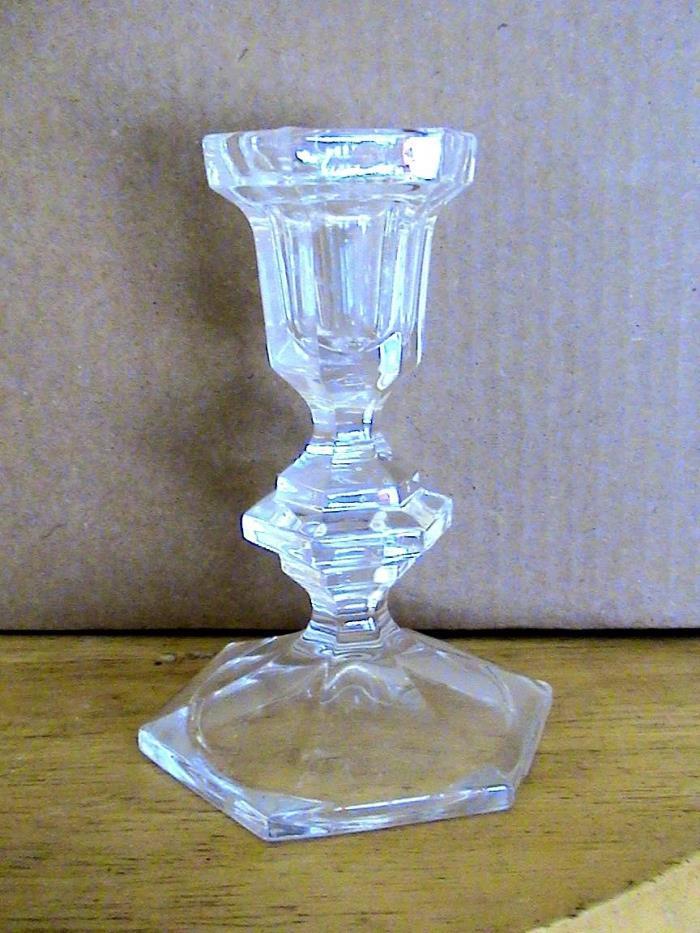 VINTAGE GLASS TAPER CANDLE HOLDER