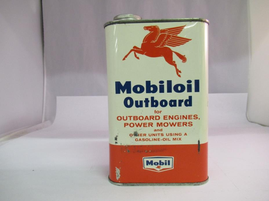 VINTAGE ADVERTISING MOBIL OIL OUTBOARD GASOLINE-OIL MIX 1 QUART CAN, 951-W