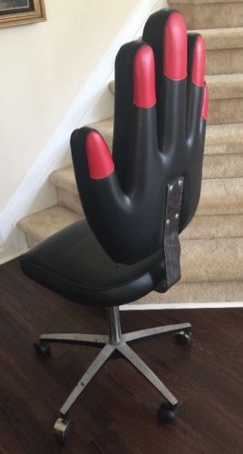 Vintage Pibbs Cosmetology Rolling Chair, Black/Red Vinyl, Free Shipping