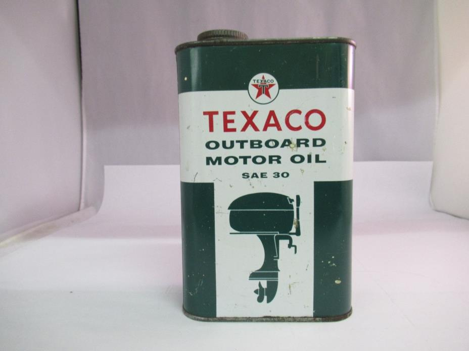 VINTAGE ADVERTISING TEXACO OUTBOARD MOTOR OIL ONE QUART CAN, 436-X