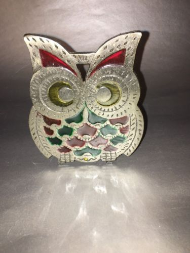 Vintage Cast Metal OWL Napkin Holder Stained glass design