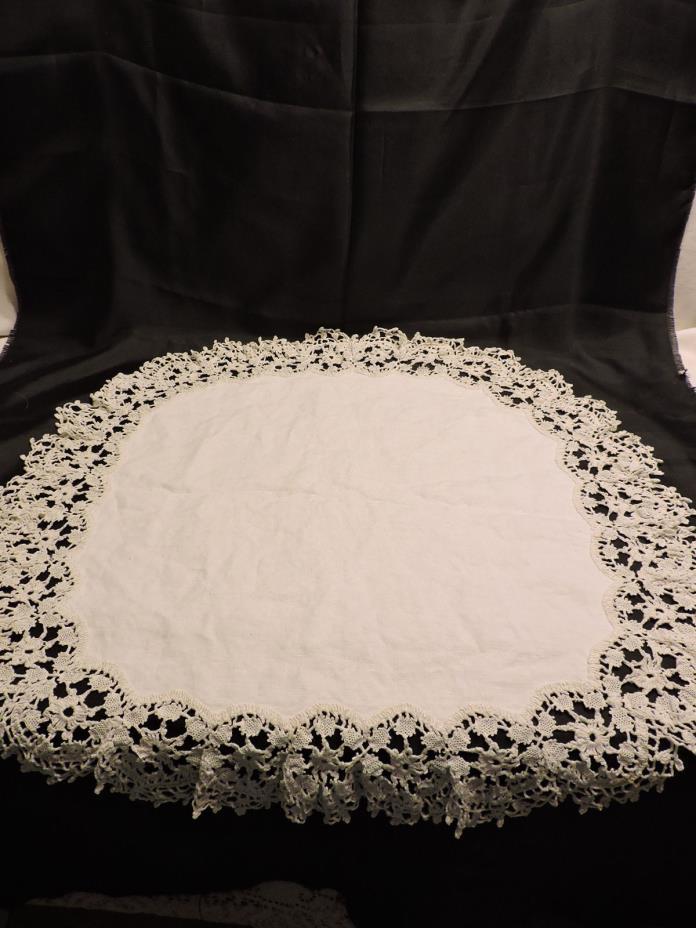 Vintage Round Table Topper Tablecloth White Linen Crochet Edge 22