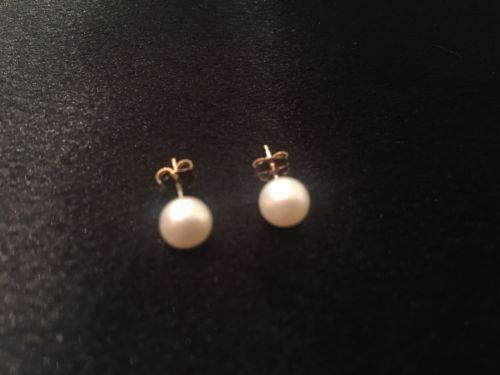 14k 6mm Akoya Pearl Earrings BEAUTIFUL